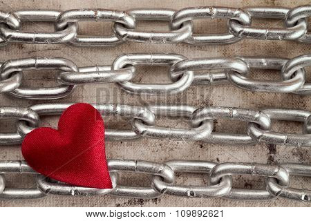 Four Chains With Red Heart