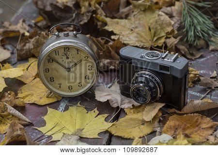 Old Clock And Camera