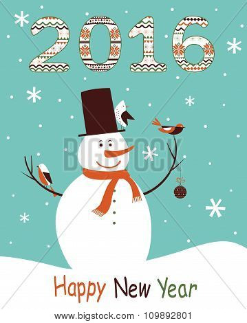 Greeting Card 2016 With Snowman