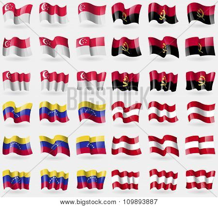 Singapore, Angola, Venezuela, Austria. Set Of 36 Flags Of The Countries Of The World.