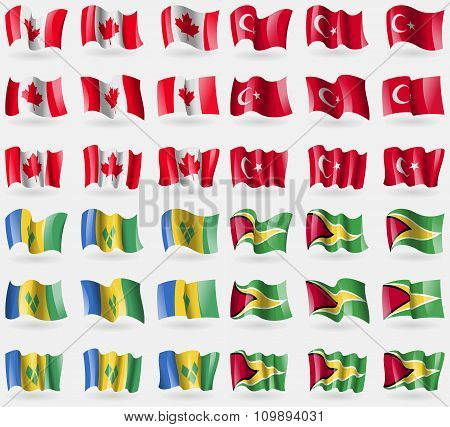 Canada, Turkey, Saint Vincent And Grenadines, Guyana. Set Of 36 Flags Of The Countries Of The
