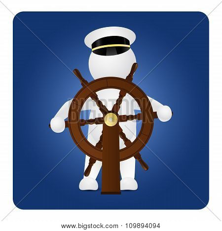 Captain behind the steering wheel on blue background