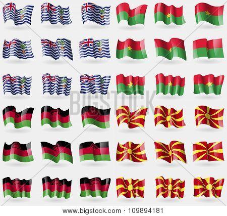 British Indian Ocean Territory, Burkia Faso, Malawi, Macedonia. Set Of 36 Flags Of The Countries