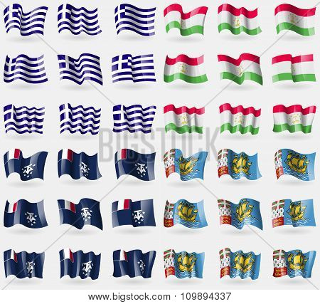 Greece, Tajikistan, French And Antartic, Saint Pierre And Miquelon. Set Of 36 Flags Of The