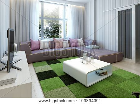 Eclectic living room with bright green carpet. 3d render