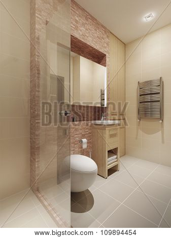 Modern style bathroom interior . 3d render