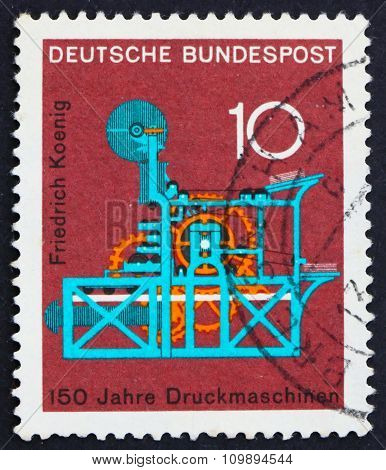 Postage Stamp Germany 1968 Koenig Printing Press