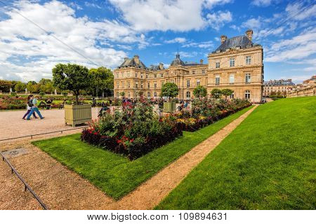 The Luxembourg Palace in Luxembourg Gardens in Paris, France. The residence of the Senate President