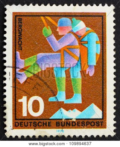 Postage Stamp Germany 1970 Mountain Climber, Rescuer