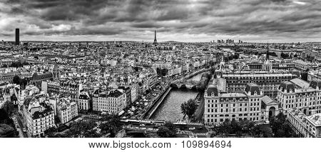 Paris, France panorama with Eiffel Tower, Seine river and bridges. As seen from Notre Dame. Black and white