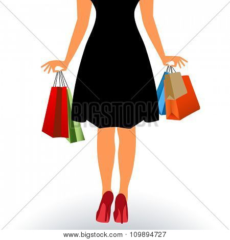 Back of woman walking with shopping bags