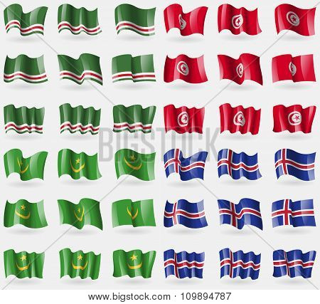 Chechen Republic Of Ichkeria, Tunisia, Mauritania, Iceland. Set Of 36 Flags Of The Countries Of