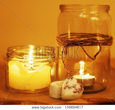 candles in glass burning romantic celebration concept