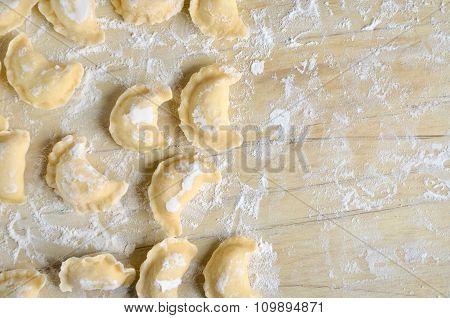 Making of pierogi with potato (Vareniki. Russian food) .