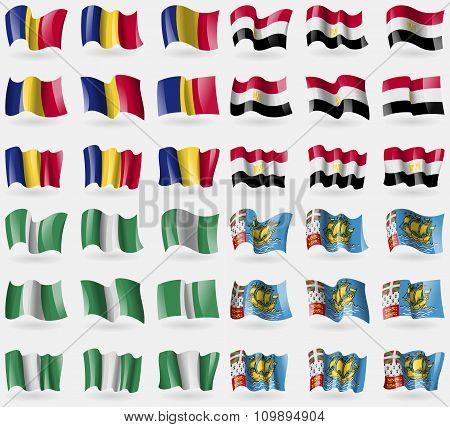 Romania, Egypt, Nigeria, Saint Pierre And Miquelon. Set Of 36 Flags Of The Countries Of The World.