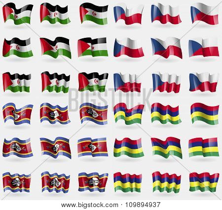 Western Sahara, Szech Republic, Swaziland, Mauritius. Set Of 36 Flags Of The Countries Of The