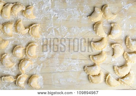 Making of pierogi with potato (Vareniki. Russian food)
