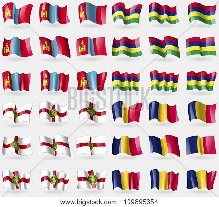 Mongolia, Mauritius, Alderney, Chad. Set Of 36 Flags Of The Countries Of The World.