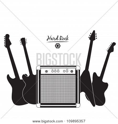 electric guitars and combo amp, hard rock
