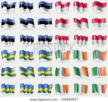 Estonia, Singapore, Rwanda, Ireland. Set Of 36 Flags Of The Countries Of The World.