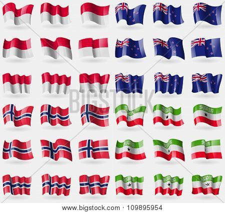Monaco, New Zeland, Norway, Somaliland. Set Of 36 Flags Of The Countries Of The World.