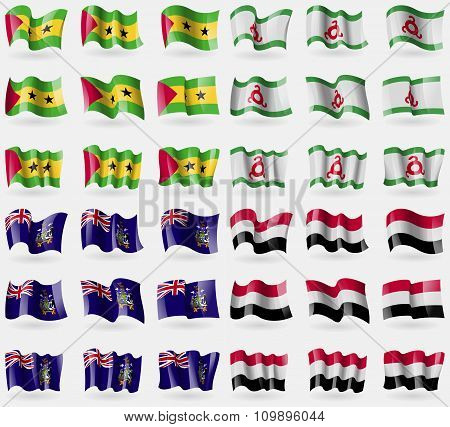 Sao Tome And Principe, Ingushetia, Georgia And Sandwich, Yemen. Set Of 36 Flags Of The Countries