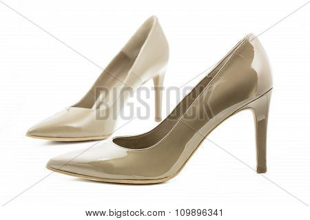 Pair of high heels isolated on white background
