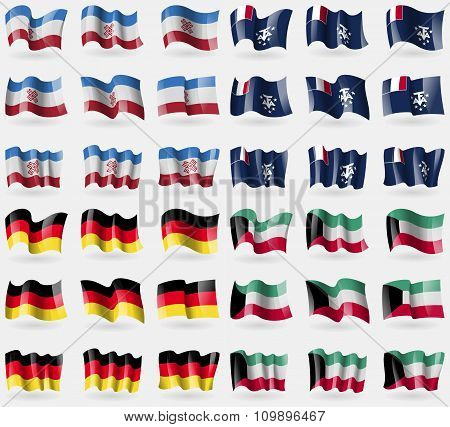 Mari El, French And Antarctic, Germany, Kuwait. Set Of 36 Flags Of The Countries Of The World.