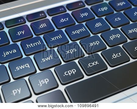Web design development concept, Programming or SEO  termnes on the laptop keyboard. 3d
