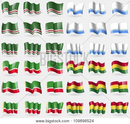Chechen Republic Of Ichkeria, Altai Republic, Chechen Republic, Bolivia. Set Of 36 Flags Of The