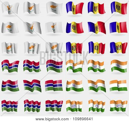 Cyprus, Moldova, Gambia, India. Set Of 36 Flags Of The Countries Of The World.