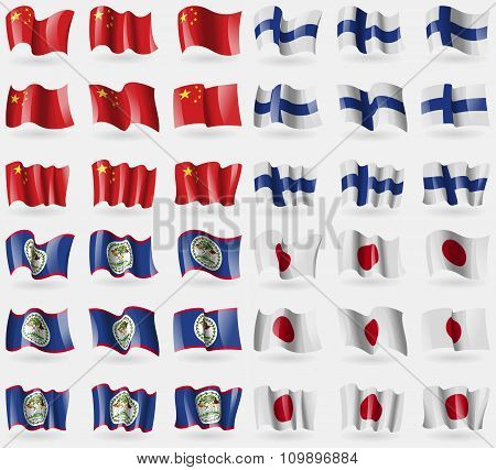 China, Finland, Belize, Japan. Set Of 36 Flags Of The Countries Of The World.