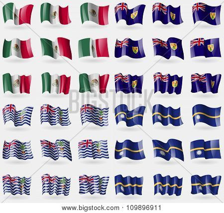 Mexico, Turks And Caicos, British Indian Ocean Territory, Nauru. Set Of 36 Flags Of The Countries