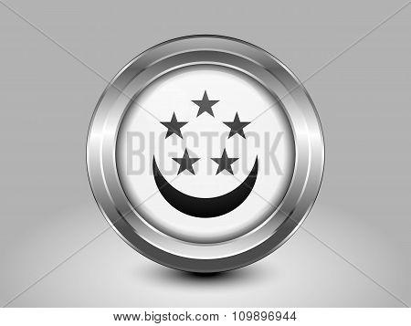 Singapore Variant Flag. Metal Round Icon