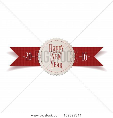 Realistic red Ribbon with New Year Label