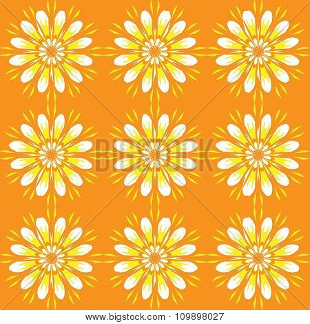 Seamless Pattern With Flowers. Bright Orange Vintage Texture. Monochrome Backdrop. Summer Background