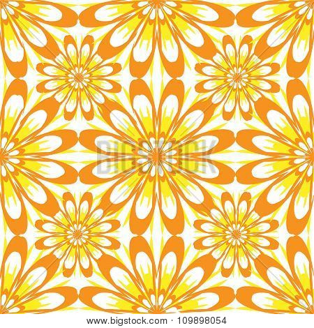 Seamless Pattern With Flowers. Yellow Vintage Texture. Monochrome Backdrop. Summer Background.
