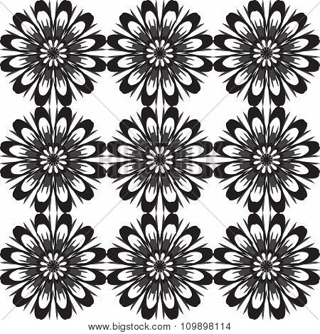 Seamless Pattern With Flowers. Vintage Texture. Monochrome Backdrop. Gray And White Daisies.
