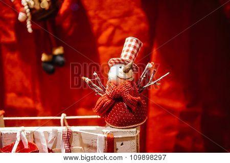 Snowman In Windows Shop