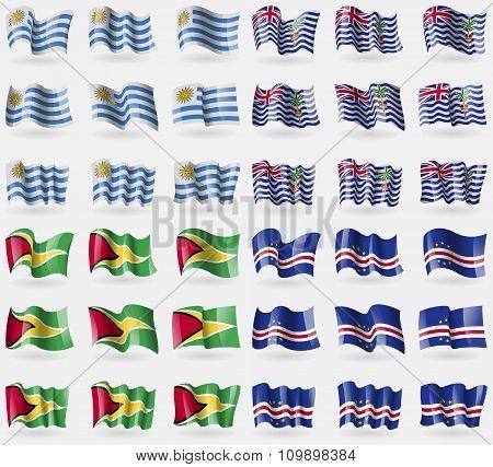 Uruguay, British Indian Ocean Territory, Guyana, Cape Verde. Set Of 36 Flags Of The Countries
