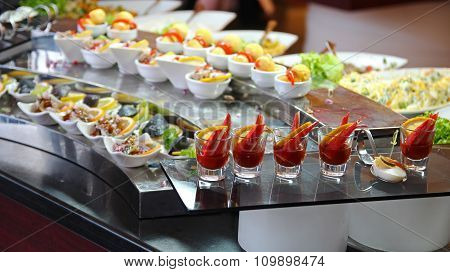 Food Buffet In Luxury Restaurant