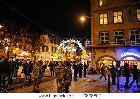 Military Patrol Surveilling Christmas Market France