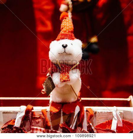 Teddy Bear Toy In Window Store Shopping