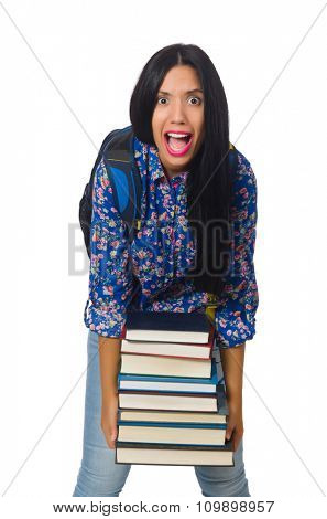 Young female student with books on white
