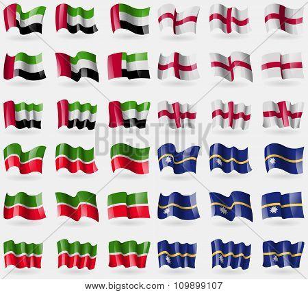 United Arab Emirates, England, Tatarstan, Nauru. Set Of 36 Flags Of The Countries Of The