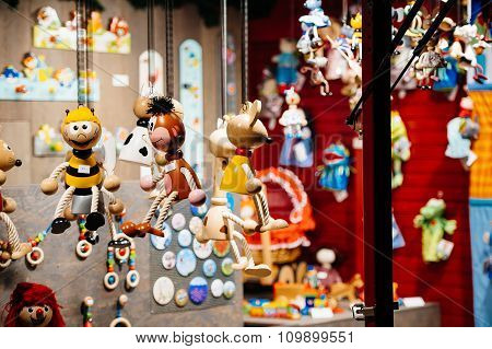 Chalet Selling Wooden Christmas Toys