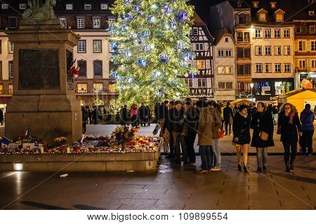 Christmas Tree And Candles After Paris Attack