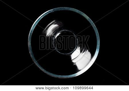 Glass bowl on black directly from above