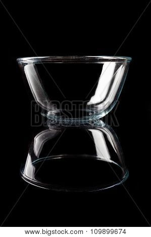 Glass bowl on black from side with reflection vertical