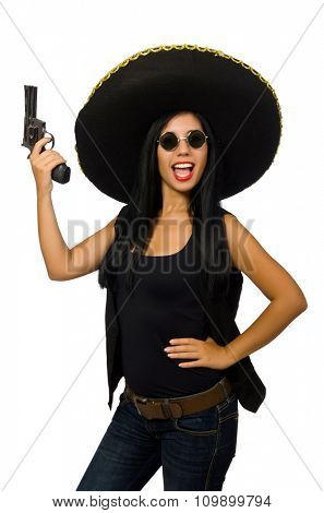 Young mexican woman with gun on white
